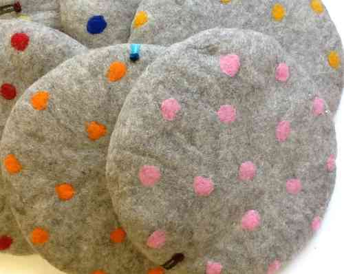 Seat Cushion, coloured dots on light grey