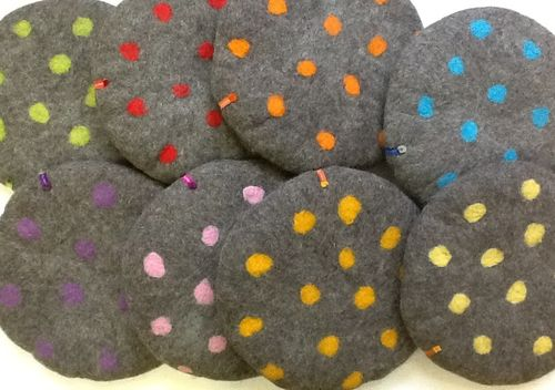 Seat Cushion with coloured dots on dark grey